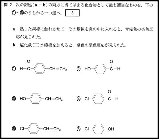 センター化学の有機化学の問題の例1